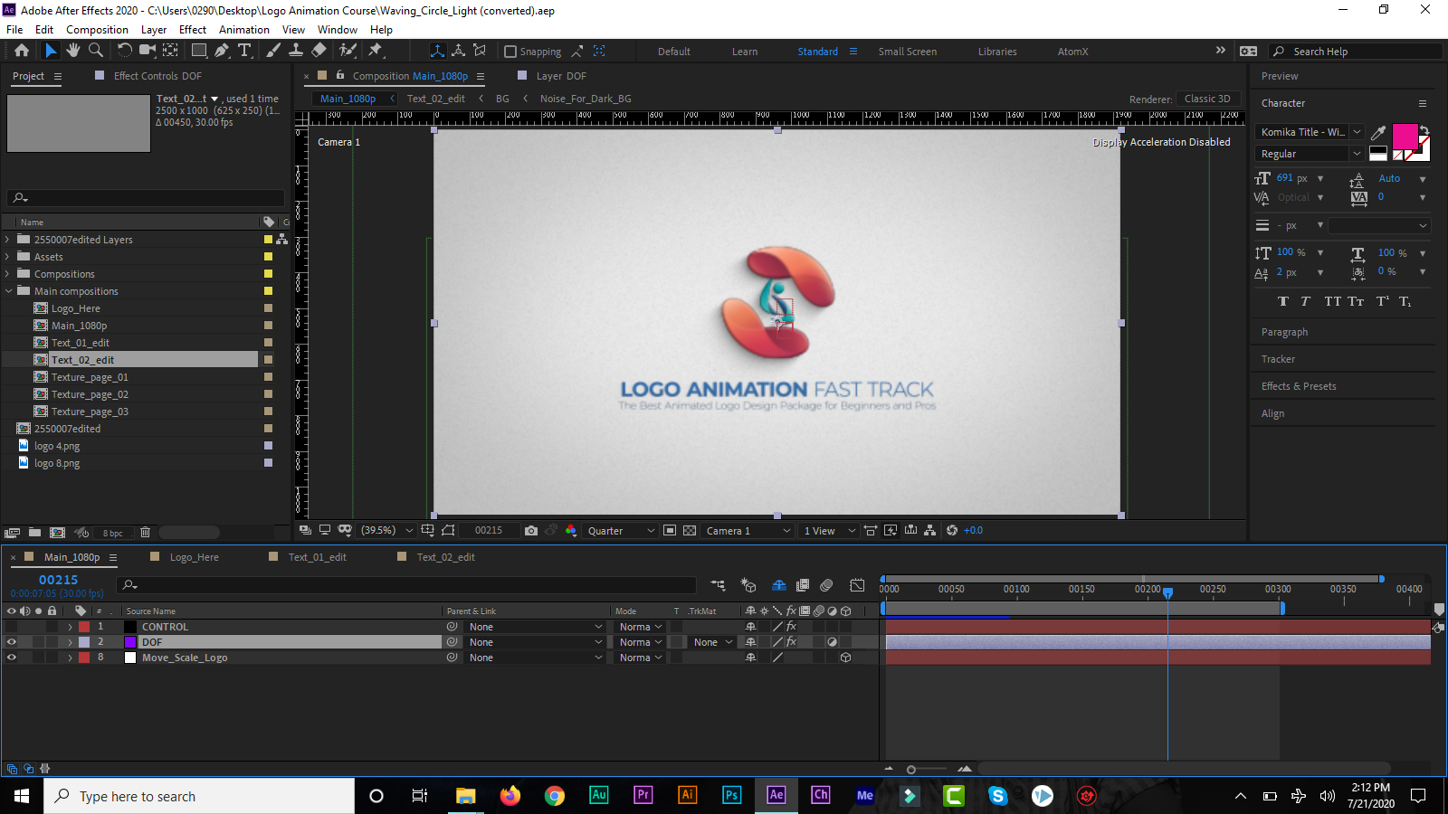 logo animation in after effect